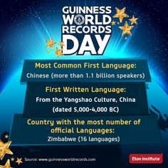 Some interesting facts about languages from Guinness World Records. Happy Guinness World Record Day!