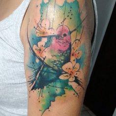 bird pássaro em aquarela feita na Rio Preto Ink Tattoo