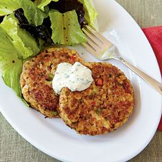 "salmon croquettes - great 20-minute recipe... the sauce is fantastic. ""by pairing this superfast recipe with a light salad, you can impress guests and have time to enjoy the meal.""  substituting canned salmon works just as well, making it even quicker and less expensive."
