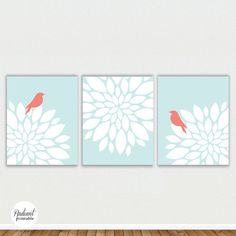Flower Bursts with Birds in Mint Coral Digital by radiantprintable, $8.00