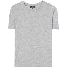 A.P.C. Cycle Cotton Mélange T-Shirt ($105) ❤ liked on Polyvore featuring tops, t-shirts, grey, grey top, gray tees, gray top, grey t shirt and grey tee