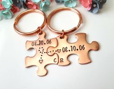 Couple Keychains by Cali Girl Customs on Etsy. >> Leave all desired date in the note to Cali Girl Customs box at check out << Want this set in Silver?: https://www.etsy.com/listing/275757814/10-year-anniversary-gift-anniversary?ref=shop_home_active_8