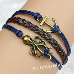 Octopus & Anchor Bracelet Navy Wax Cord Dark Brown Braided bracelet Vintage Style Bracelet Fashion Friendship Gift