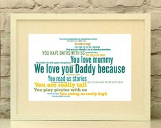 """Handcrafted Products Etsy Daddy Personalised Print """"Love you because"""" In your choice of colours - Personal. Fathers Day Presents, Gifts For Father, Handmade Shop, Handmade Gifts, Just For You, Love You, Fabric Gifts, Romantic Gifts, Soy Candles"""