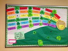 Math bulletin board, St. Patrick's Day, rainbow
