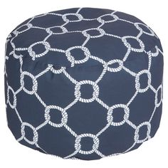 Showcasing an ivory rope motif laid over a navy backdrop, this eye-catching pouf lends nautical appeal to your living room or den.  Produ...