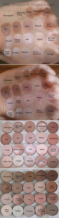 SWATCHES :: MAC Light Neutrals by #mupnorth :: Primed/ intensely pigmented (i.e. Soft Brown = lighter blended on) **FAVS: Row1: Retrospeck, Warming Trend, Soba, Cork R2: Era, Kid, Malt R3: Phloof!, Naked Lunch, Jest R4: Blanc Type, Grand Entrance (HG!), Omega **MUST HAVE: Cork, Kid/Malt, Soft Brown, Phloof!, Naked Lunch, All That Glitters, Blanc Type, Omega **STAY AWAY: Retrospeck, Gleam, Forgery, Filament (lustre finish=very gritty/not pigmented/major fall out. Some = good i.e.