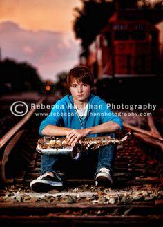 senior picture ideas at railroad tracks | Train Tracks with a Sax {Lansing, Grand Ledge, Mason} senior on train ...