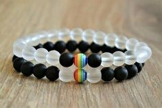 gay jewelry gay pride bracelet rainbow bracelet bead bracelet gay pride jewelry gay couples gay wedding gift his and his gay boyfriend gift Cute Jewelry, Diy Jewelry, Jewelery, Handmade Jewelry, Jewelry Making, Pride Bracelet, Gay Pride, Boyfriend Gifts, Friendship Bracelets
