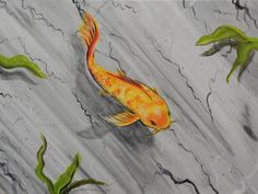 Marble Koi by Ed Capeau Painting Print on Wrapped Canvas