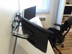 three monitor computer station set up mounted (2)