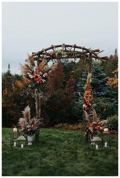 A Vermont Destination Wedding at the Peak of Fall Foliage - Love Inc. Fall Wedding Arches, Wedding Ceremony Arch, Wedding Altars, Fall Wedding Colors, Autumn Wedding, Fall Wedding Decorations, Wedding Ideas, Diy Wedding Arch Flowers, Church Decorations
