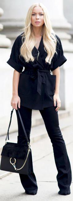 Wrap Blouse And Flare Jeans.