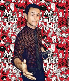Joseph Gordon-Levitt + buffalo check shirt + cool graphic background = <3