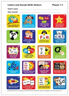 Letters and Sounds Phases 1-4 stickers. 40mm square stickers. 200 stickers per pack.