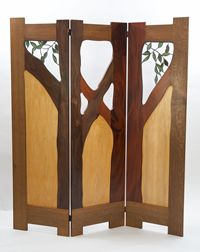 A room divider that's reminiscent of the front door of the Gamble House. Oh, how I want this!