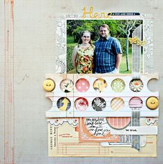 Jill Sprott - love the hole punched paper with button inlays. Scrapbook Sketches, Scrapbook Page Layouts, Scrapbook Pages, Scrapbook Photos, Art Journal Inspiration, Layout Inspiration, Mini Albums, Scrapbooking Digital, Diy And Crafts