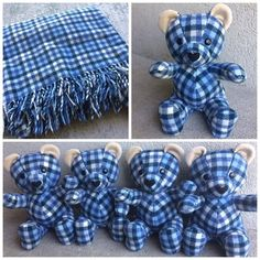 I made this amazing wool pendleton blanket into 4 matching memory bears this week www nestlingkids com product keepsake memory teddy bear upcycled from your own fabric baby clothes outfit baby blanket Teddy Bear Crafts, Diy Teddy Bear, Teddy Bears, Sewing Stuffed Animals, Stuffed Animal Patterns, Memory Crafts, Keepsake Crafts, Teddy Bear Sewing Pattern, Bear Blanket
