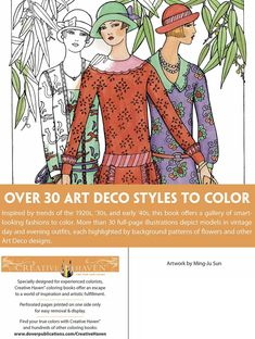 Creative Haven Art Deco Fashions Coloring Book By: Ming-Ju Sun - ABOUT  Dover Publications