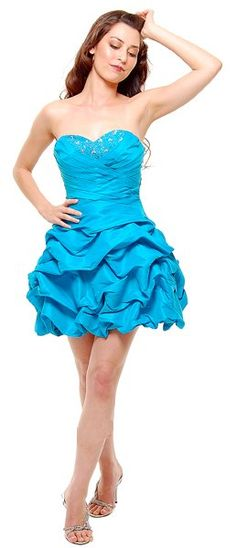 Plus Size Turquoise Ruched Short Dress Strapless Pleated Bodice Gown $99.99