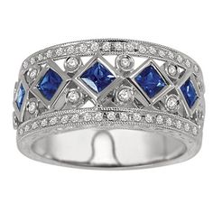 14K White Gold Diamond and Sapphire Art Deco Band.    http://www.thediamondstore.com/products/anniversary-rings/14k-white-gold-diamond-anniversary-band-%7C-ash46096/5-754