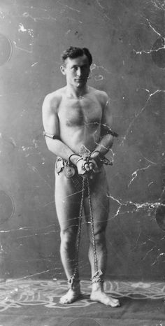 Harry Houdini (3/24/1874 - 10/31/1926) Austrian-Hungarian-born American stunt performer, noted for his sensational escape acts.