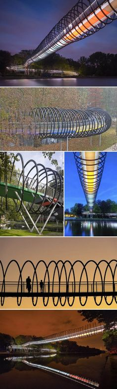 The Slinky Springs Bridge in Oberhausen, Germany, was completed this past summer. Designed by artist Tobias Rehberger, the inspiration for the bridge came from the iconic Slinky toy.