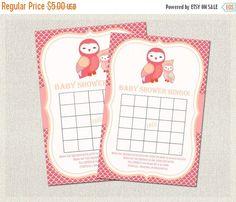 ON SALE Baby Shower BINGO Owls Baby Shower by PixieBabyShower