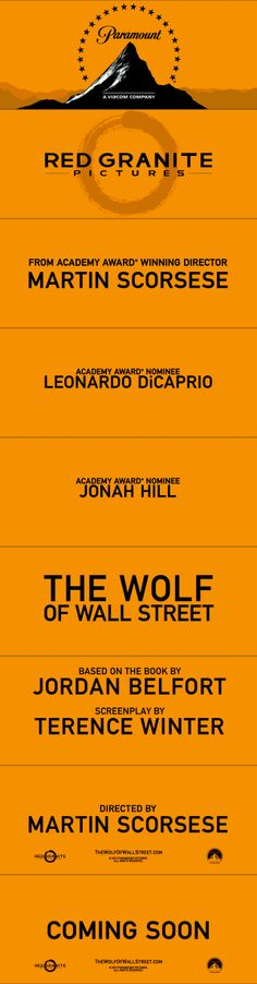 Trailer typography/title style - The Wolf of Wall Street (2013)