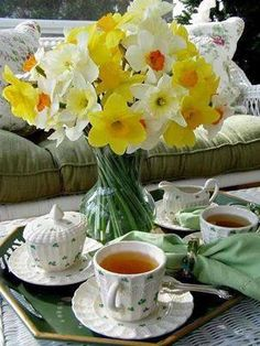 Garden tea party with Irish china tea service.