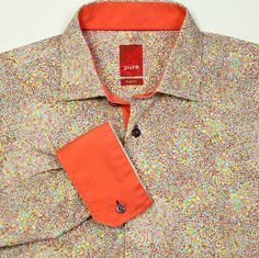 PURE London Slim Fit Bright Floral Flip Cuff Cruise Club Shirt Mens M FABULOUS #Pure #ButtonFront