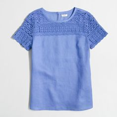 J.Crew Factory linen lace t-shirt ($45) ❤ liked on Polyvore featuring tops, t-shirts, blue tee, j crew tops, lace keyhole top, linen tee and blue t shirt