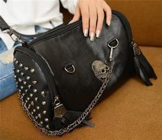 Black PU leather Rock punk skull rivet tassel Women's handbag shoulder bag tote
