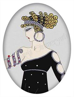 Erte Art Deco fashion art, printable collage sheet single image 30 x 40 mm by Glimmersmith, $0.80