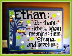 Ethan Canvas. MADE TO ORDER. Children's Canvas Art. Name Definition. $40.00, via Etsy.