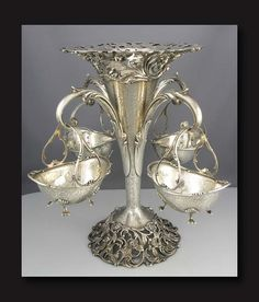 American Sterling Epergne with Hanging Baskets