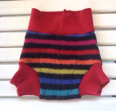 Medium upcycled wool rainbow striped soaker cloth  Diaper Cover with extra wet zone layer on Etsy, $14.00