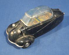 "Vintage 1950's Bandai Japan Messerschmitt Bubble Car Tin Friction Toy 8"" Black | Pre-1970 | Friction - Zeppy.io"