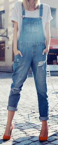 Overalls are back, and you can pair a skinny leg style with a basic tee and heels for a great spring-weekend look.