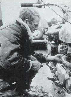 """eve McQueen and motorcycles– tinkering on the set of """"The War Lover"""", 1961"""