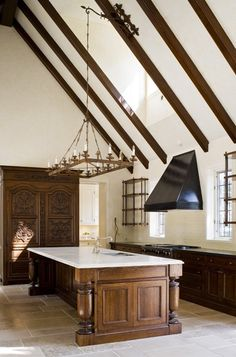 Grand Kitchen with Wood Beams | photo Ted Yarwood | Design Theresa Casey | @House & Home