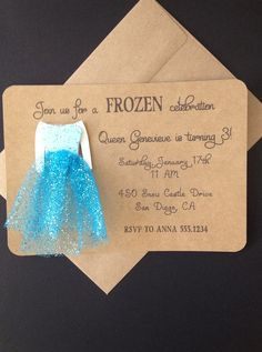 Frozen Elsa with Glitter Tulle Snow Queen Dress Invitations Custom Made for Birthday Party or Baby Shower on Kraft Paper, Set of 8 Invites $24.00