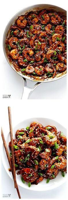 Hoisin Shrimp Easy Hoisin Shrimp -- ready to go in 15 minutes, and made with a delicious sauce Shrimp Dishes, Fish Dishes, Shrimp Recipes, Fish Recipes, Asian Recipes, Healthy Recipes, Meatball Recipes, Chicken Recipes, Recipies