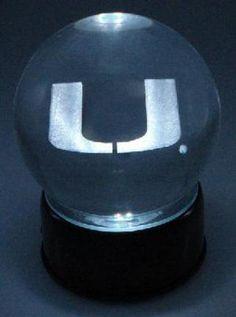 Miami Hurricanes 'U' Laser Etched Crystal Ball Ball Music Box