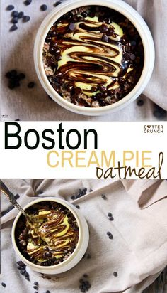 """Gluten Free Boston Cream Pie Oatmeal; a tasty """"healthified"""" version with natural ingredients and packed with protein and good fats! Breakfast in 10 minutes or less."""