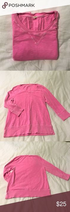 J.Crew Top in Heavy Cotton. Hot pink J.Crew top with 3/4 length sleeves. Heavy cotton. Great for lounging! J. Crew Tops Sweatshirts & Hoodies