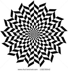 Circle Optical illusion. Hypnosis Design Pattern. Concept for hypnosis. Circle Optical illusion. Op Art flower style Vector. by Atypeek Design, via ShutterStock