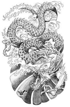 Fantasticos tatuajes de dragones y significados Dragon Tattoo Art, Dragon Sleeve Tattoos, Dragon Artwork, Dragon Tattoo Designs, Asian Dragon Tattoo, Japan Tattoo, Japanese Tattoo Designs, Japanese Tattoo Art, Tattoo Sketches
