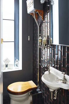 Real home: a glazed extension to an Edwardian terraced house adds tons more space Bathroom Vanity Decor, Dark Bathrooms, Edwardian Bathroom, Dark Tile Bathroom, 1960s Home Decor, Vintage Bathrooms, Living Room Designs, Bathroom Makeover, Vanity Decor
