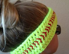 crochet softball hat | Softball Headband- Crochet Headband - Softball Ear Warmer ...